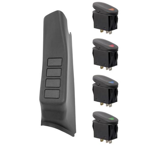 Rugged Ridge A-Pillar 4 Switch Pod Kit, Black, LHD; 11-16 Jeep Wrangler JK 17235.96