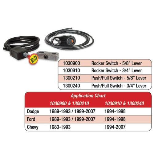 BD Diesel Push/Pull Switch Kit, Exhaust Brake - 3/4in Manual Lever 1300240