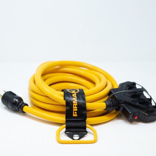 25FT POWER CORD L14-30P TO 5-20RX4, 10 GUAGE 30AMP WIRING, CIRCUIT BREAKERS & STORAGE STRAP           1120