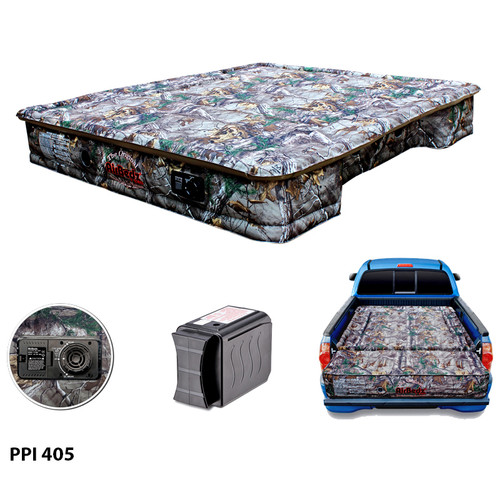 """AirBedz Original Truck Bed Air Mattress PPI 405 Midsize 5'-5.5' Short Bed (60""""x55""""x10"""") With Built-in Rechargeable Battery Air Pump"""