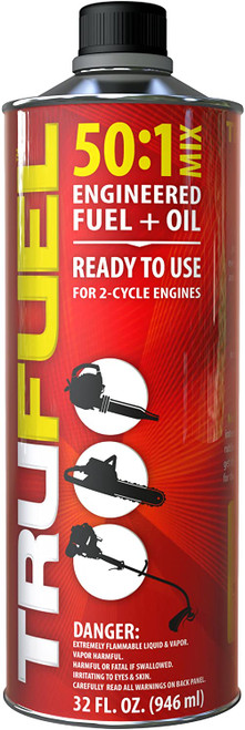TruFuel 2-Cycle 50:1 Pre-Blended Fuel for Outdoor Power Equipment - 32 oz. Case of 6.