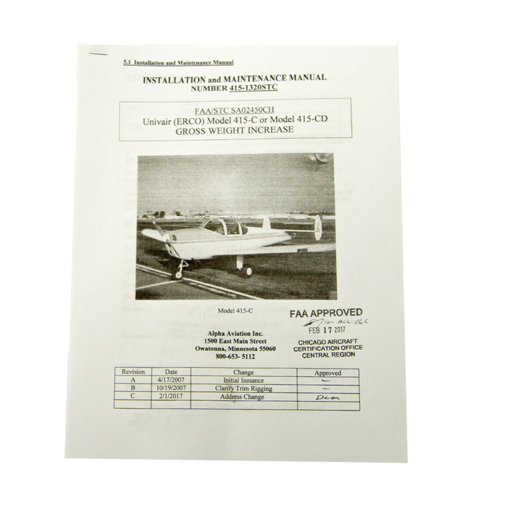 Ercoupe Gross Weight Increase  LSA #1320 - STC SA02450CH