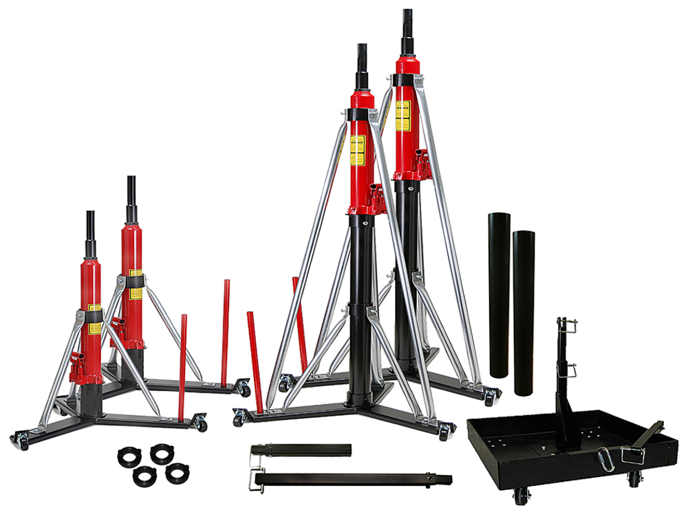"""2 Model #838W, 2 Model #868W, 2 - 30"""" Riser Tubes, 1 Portable Tailweight 535, 1 additional 13"""" TW Extension, 1 - 24"""" TW Extension, 4 additional locking collars"""