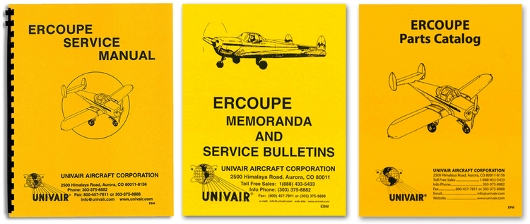 Ercoupe Service Manual, Service Bulletins & Memos, Parts Catalog