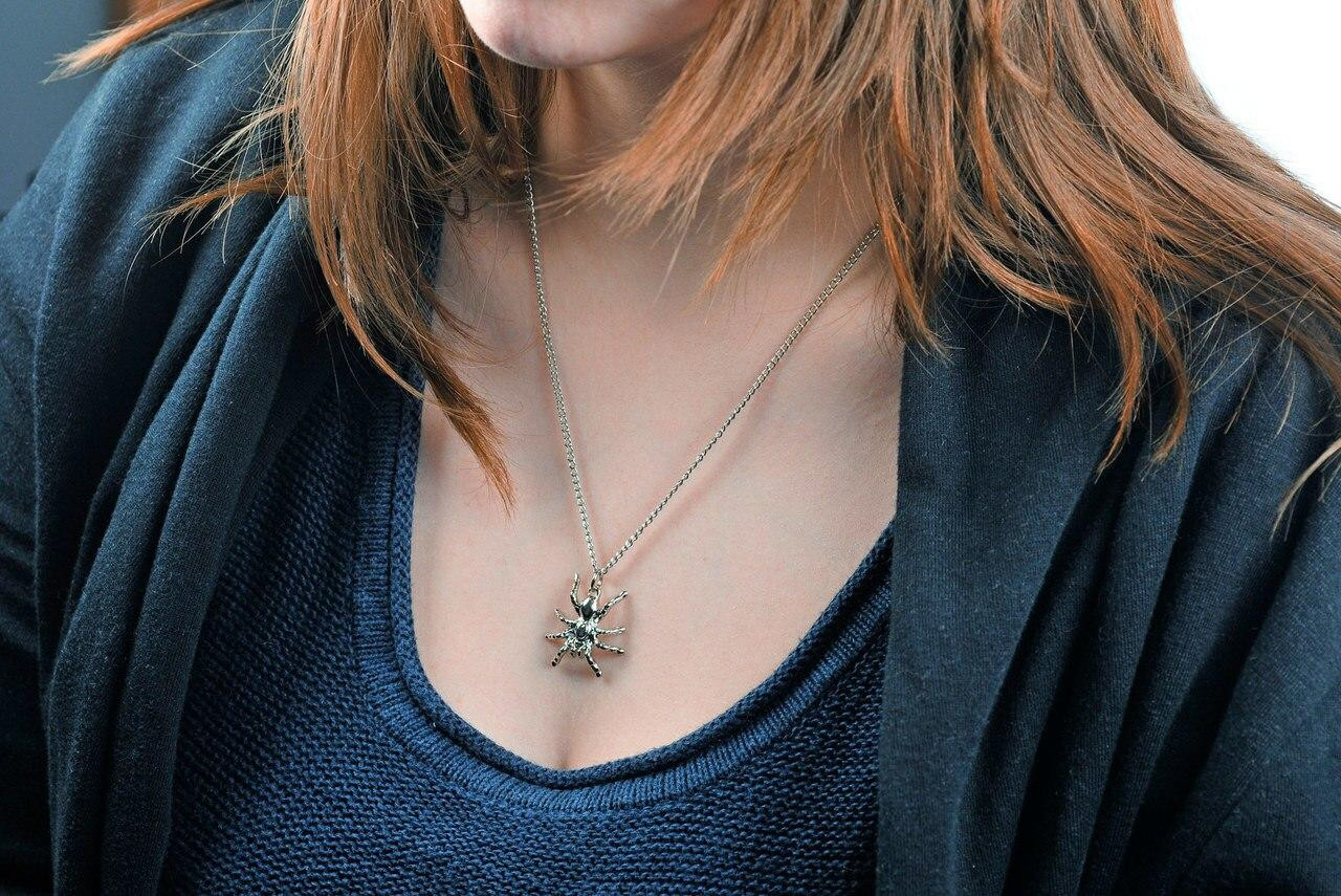 All Things Reptile Necklace Spider in Velvet Pouch
