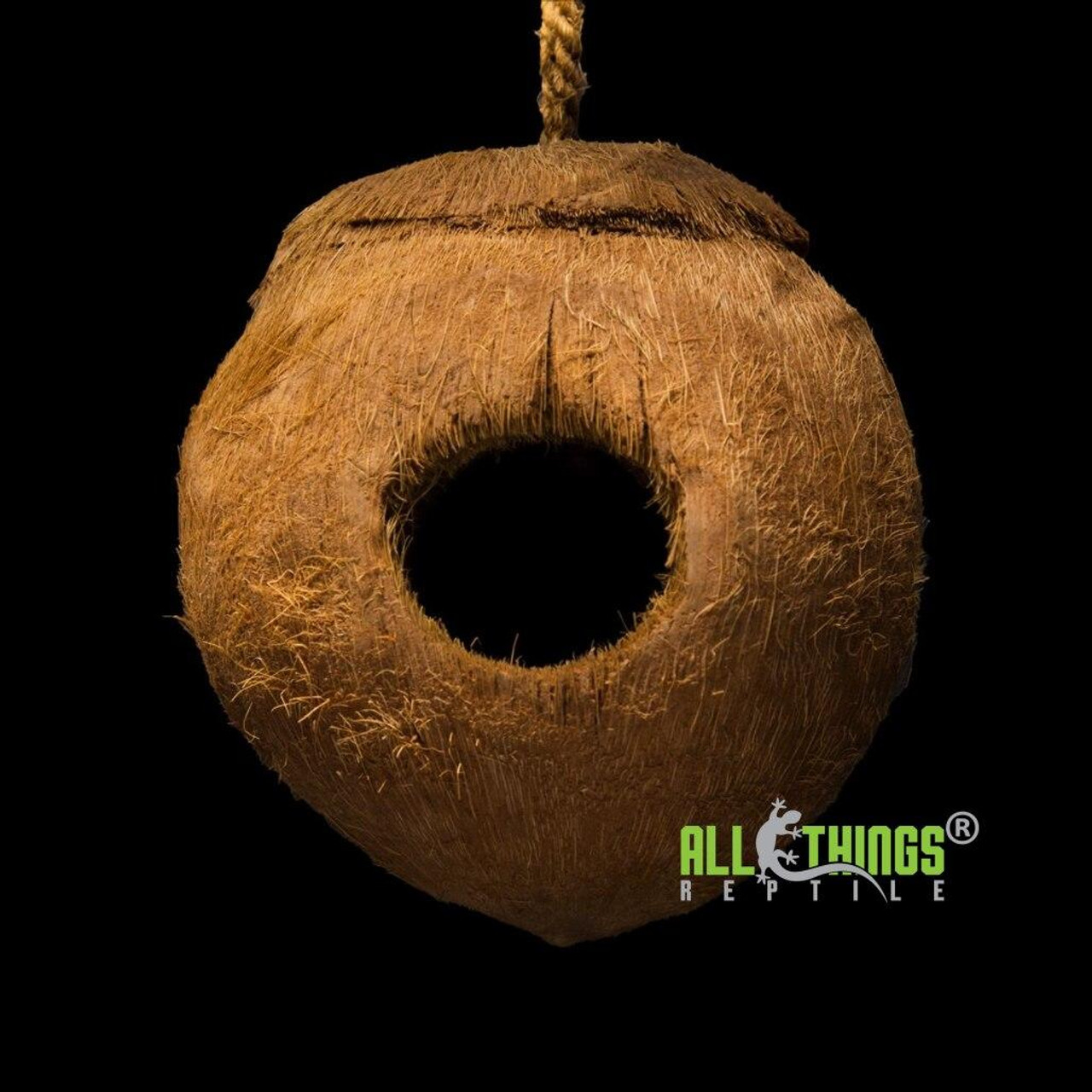 All Things Reptile ATR Hanging Notched Coconut Reptile Hide Large