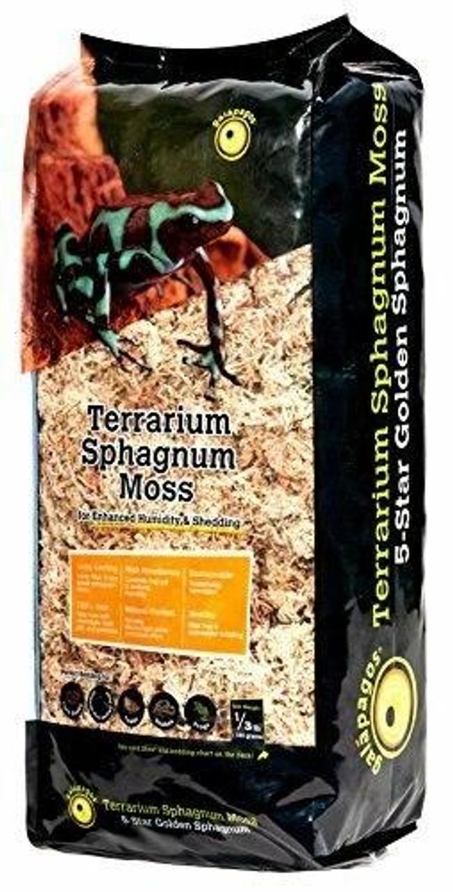 Galapagos Galapagos Terrarium Sphagnum Moss 5-Star Premium Golden Sphagnum for Enhanced Humidity and Shedding 1/3 Lb