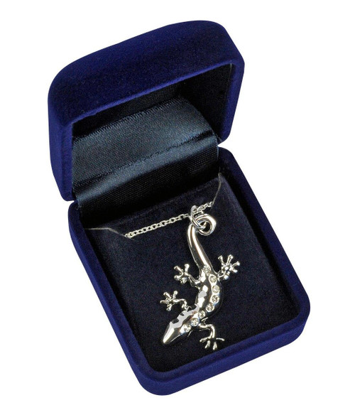All Things Reptile Necklace Gecko with 8 Stones in Velvet Box