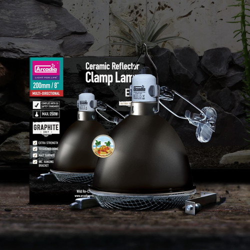Arcadia ARCADIA GRAPHITE CERAMIC DOME REFLECTOR CLAMP LAMP 200mm / 8″ CDN/USA PLUG