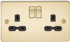 Flat Plate 13A 2G DP Switched Socket - Polished Brass with Black Insert (DFL1FPR9000PB)