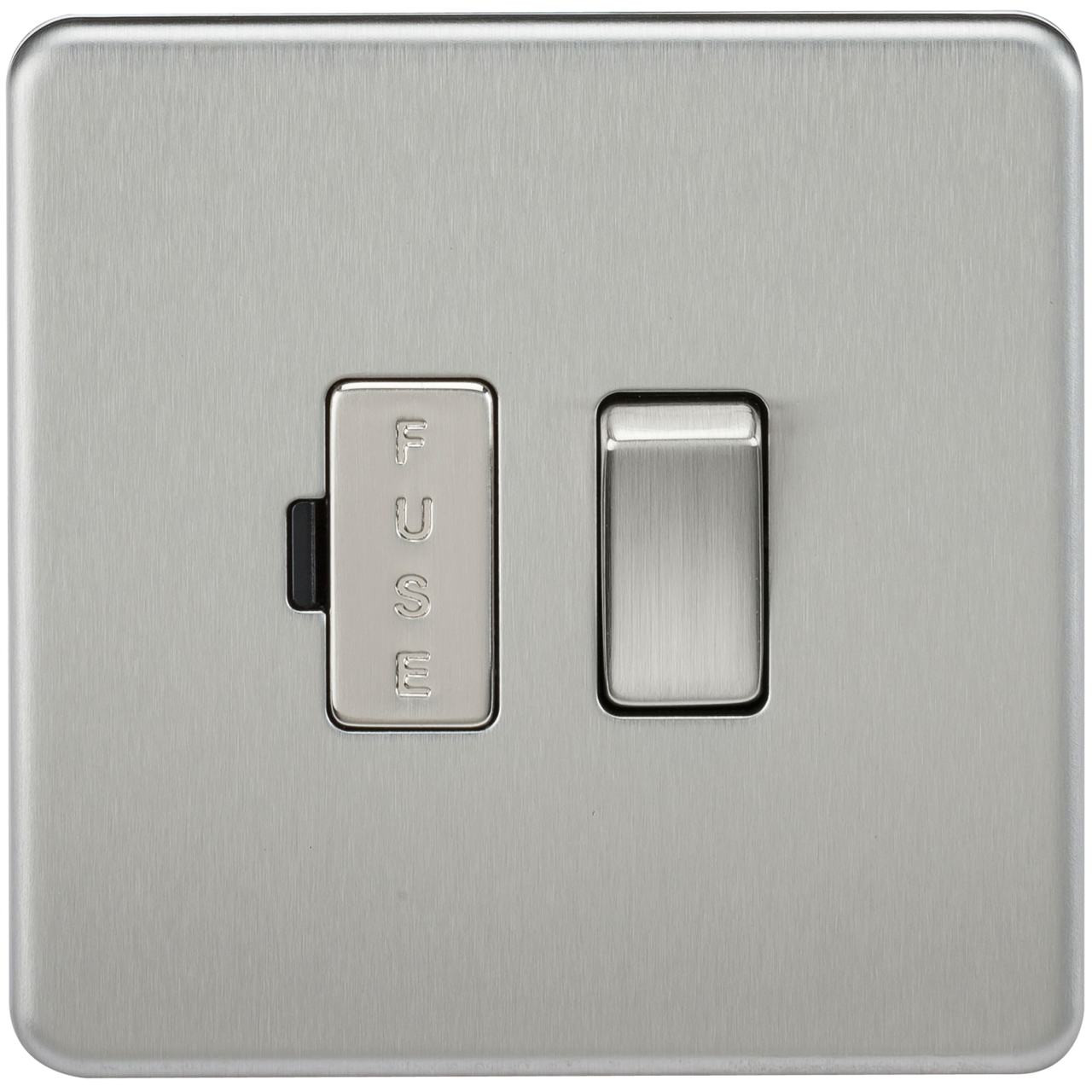 Screwless 13A Switched Fused Spur Unit - Brushed Chrome (DFL1SF6300BC)