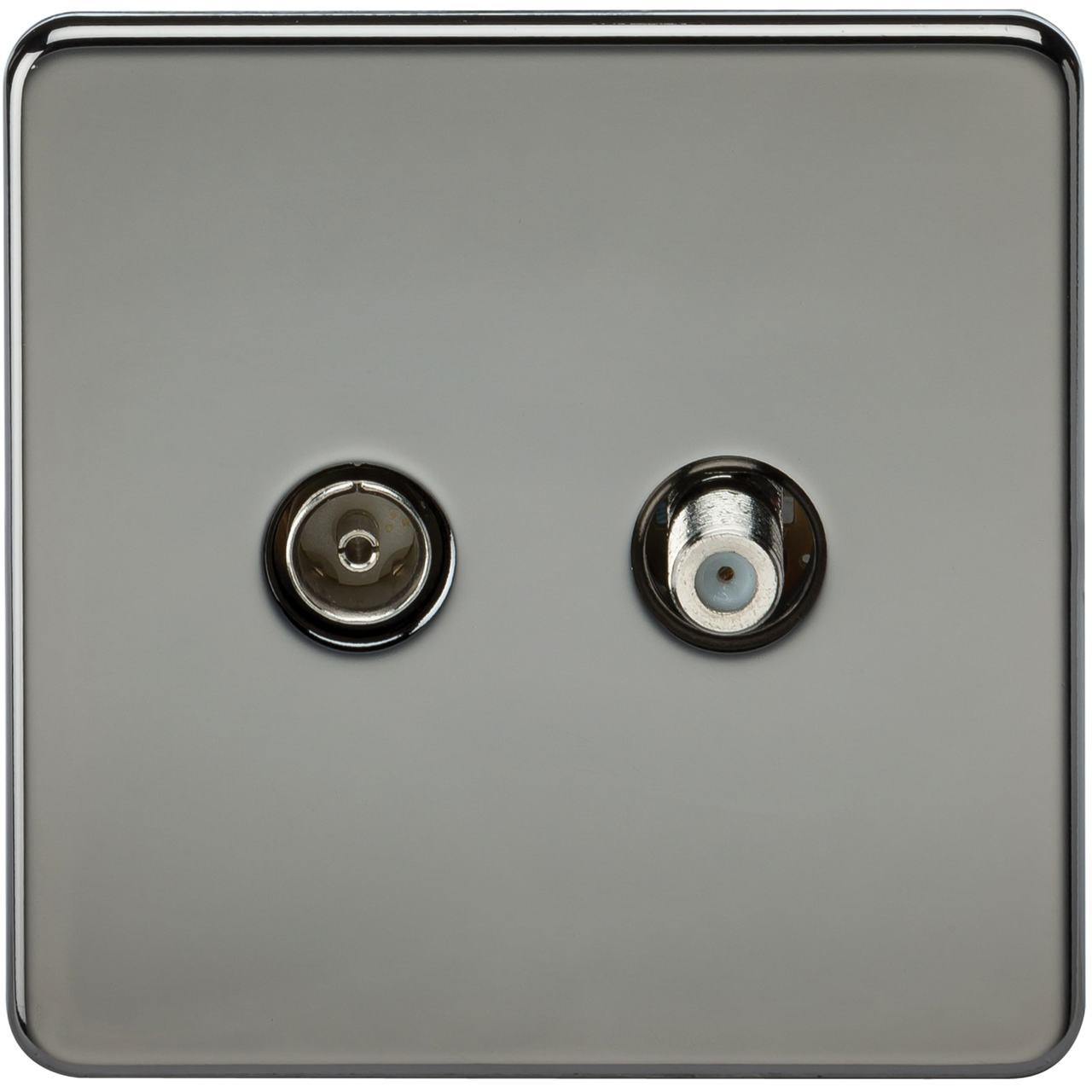 Screwless TV & SAT TV Outlet (Isolated) - Black Nickel (DFL1SF0140BN)