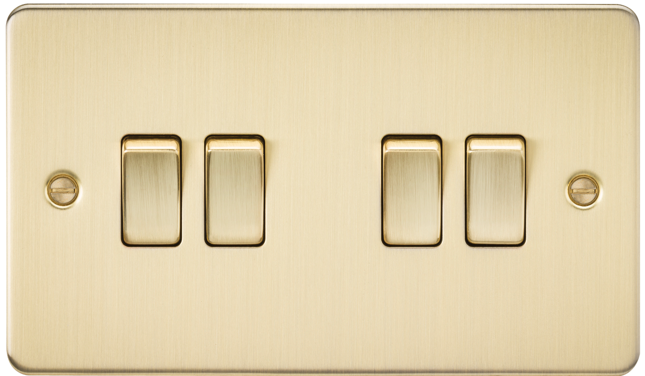 Flat Plate 10A 4G 2-Way Switch - Brushed Brass (DFL1FP4100BB)