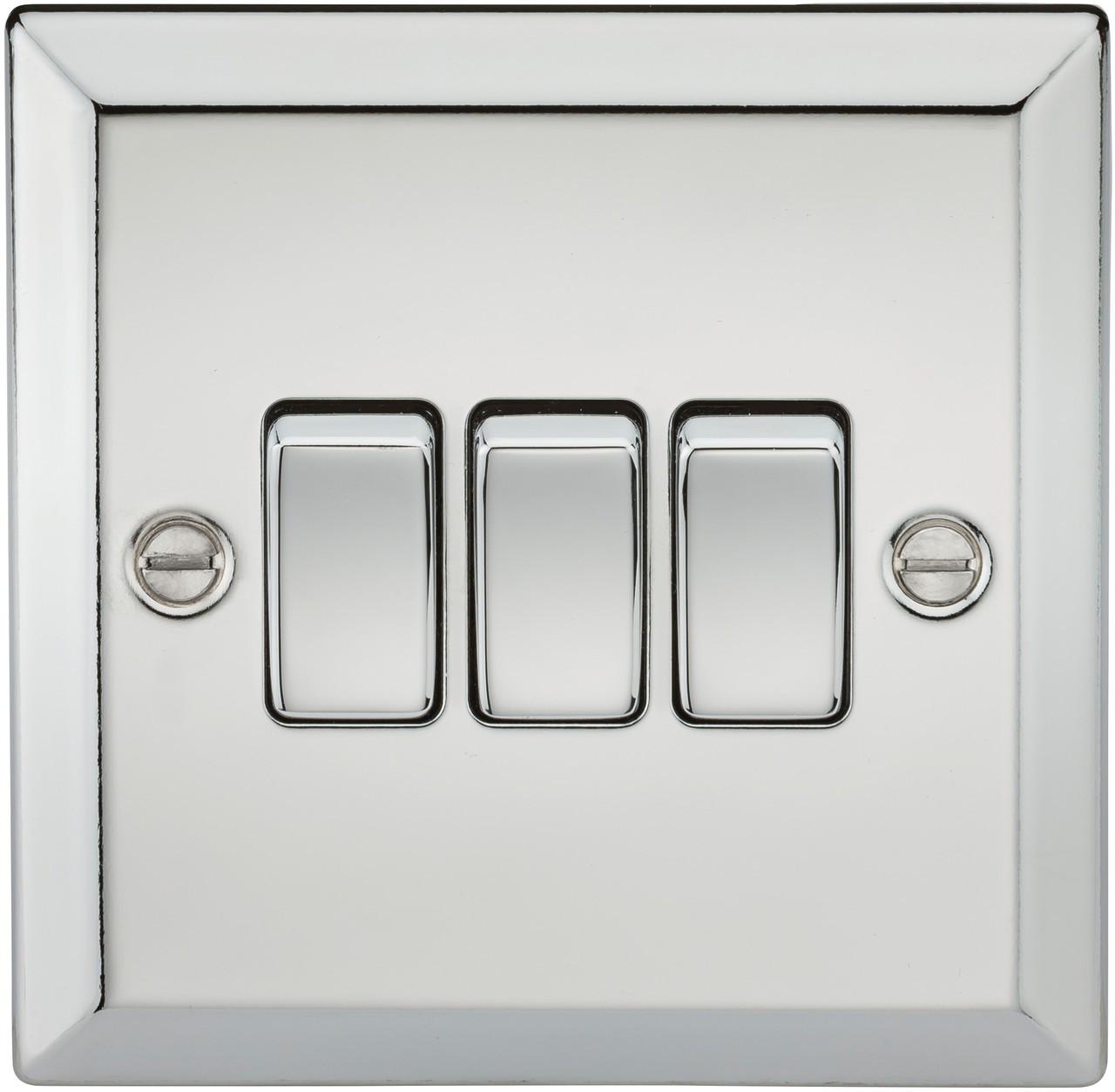 10A 3G 2 Way Plate Switch - Bevelled Edge Polished Chrome (DFL1CV4PC)