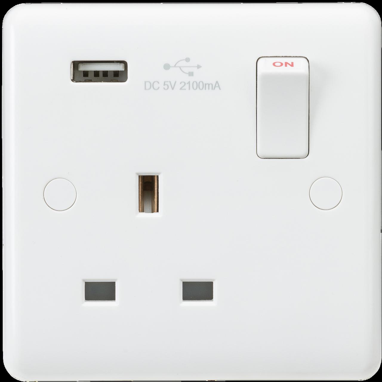 13A 2G Screwless Polished Chrome 1G Switched Socket /& Quad 5V USB Charger Ports