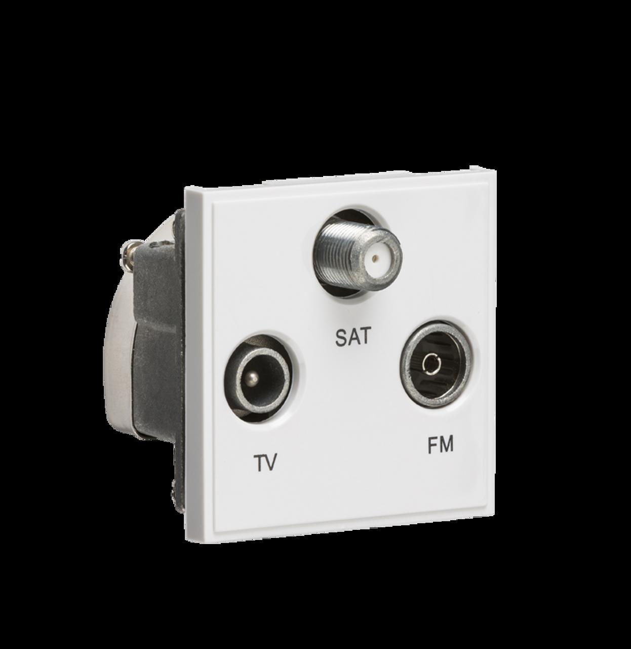 White Modular Triplexed TV /FM DAB/ SAT TV Outlet (DFL1NETTRIWH)