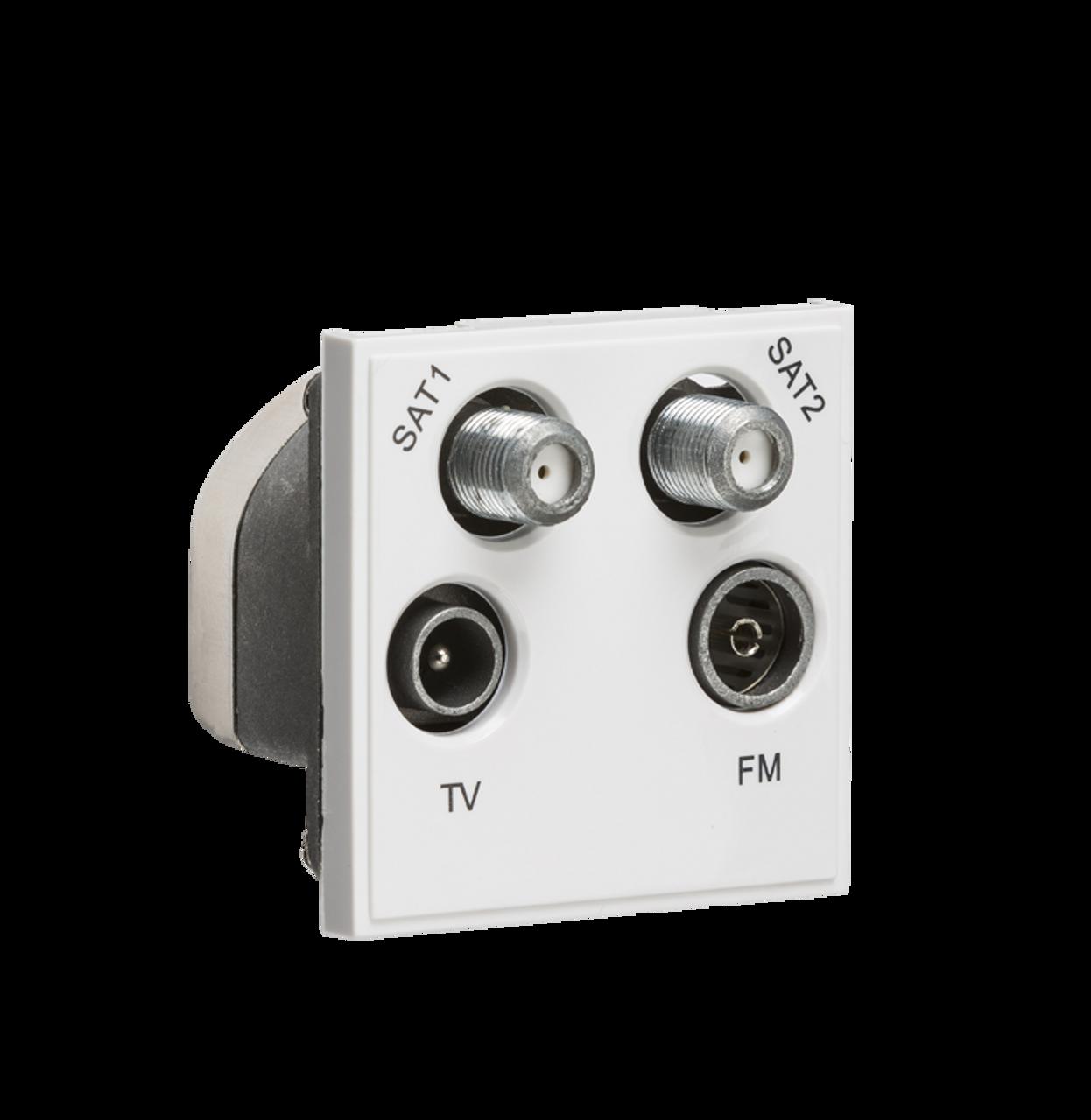 Superb White Modular Quadplexed Sat1 Sat2 Tv Fm Dab Outlet Dfl1Netqdwh Wiring Digital Resources Jebrpkbiperorg