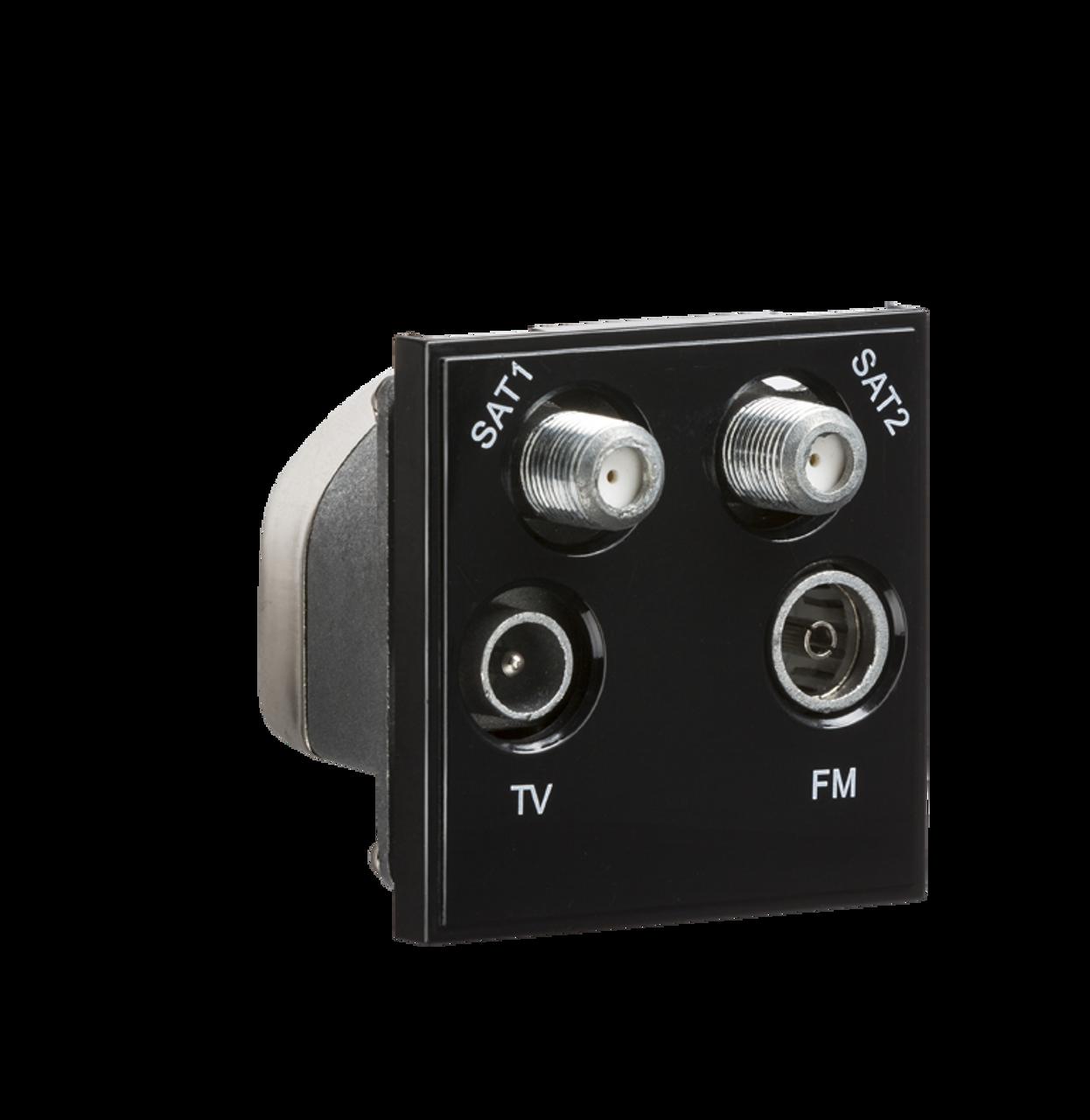 Pleasing Black Modular Quadplexed Sat1 Sat2 Tv Fm Dab Outlet Dfl1Netqdbk Wiring Digital Resources Jebrpkbiperorg