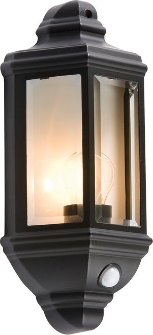 IP33 60W Die-Cast Aluminium Clear Glass Wall lantern with PIR Sensor