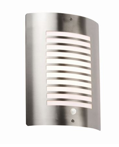 240V IP44 E27 40W max. Stainless Steel Outdoor Wall Fixture with PIR