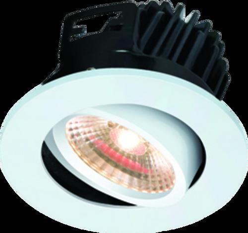 IP20 7W LED 3000K Warm White Tilt Downlight with Fixed White Bezel