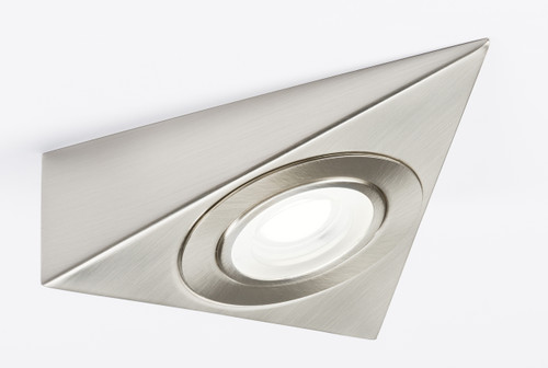 230V LED Triangular Under Cabinet Light - Brushed Chrome 4000K