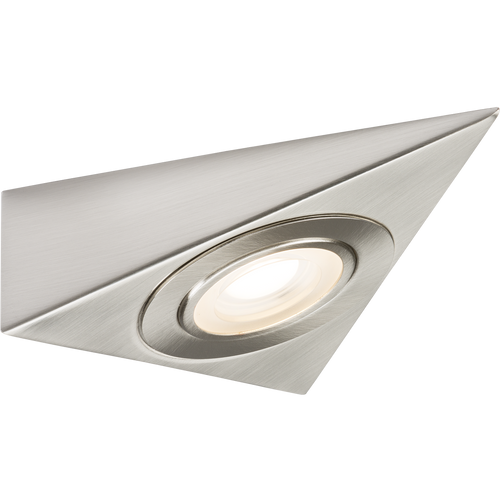 230V LED Triangular Under Cabinet Light - Brushed Chrome 3000K