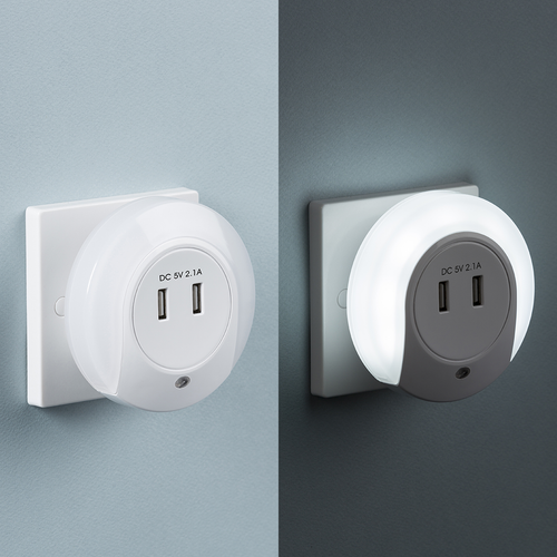 Plug in LED Night Light with Dual USB Charger Ports 5V DC 2.1A (shared) (DFL1NL002)