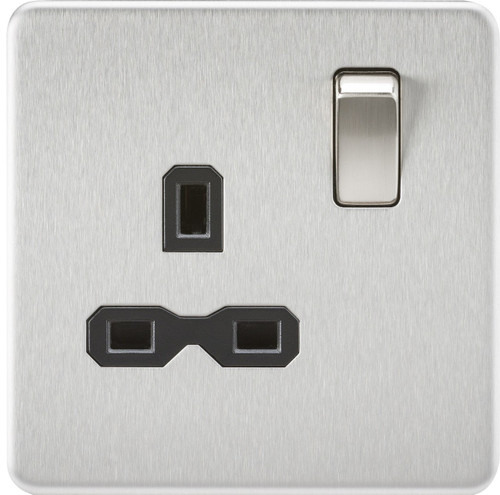 Screwless 13A 1G DP Switched Socket - Brushed Chrome with Black Insert (DFL1SFR7000BC)