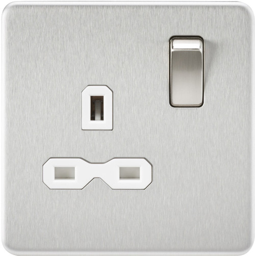 Screwless 13A 1G DP Switched Socket - Brushed Chrome with White Insert (DFL1SFR7000BCW)
