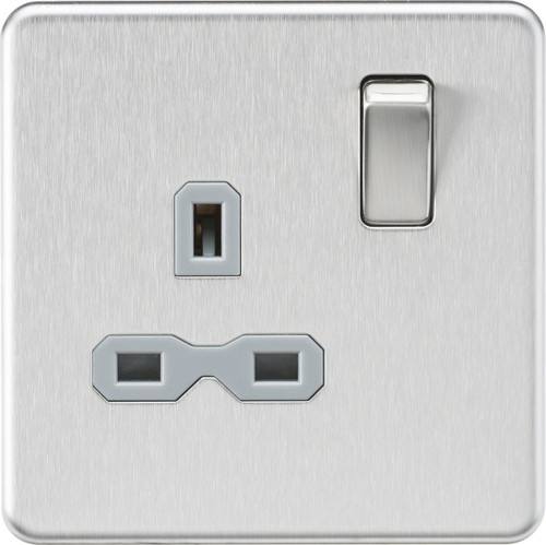 Screwless 13A 1G DP Switched Socket - Brushed Chrome with Grey Insert (DFL1SFR7000BCG)