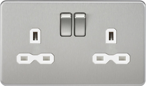 Screwless 13A 2G DP Switched Socket - Brushed Chrome with White Insert (DFL1SFR9000BCW)
