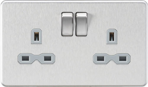 Screwless 13A 2G DP Switched Socket - Brushed Chrome with Grey Insert (DFL1SFR9000BCG)