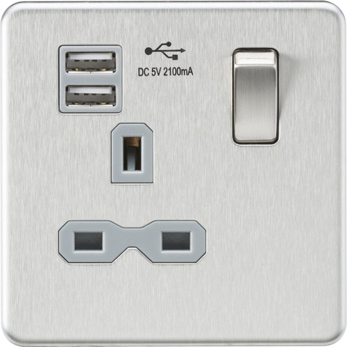 Screwless 13A 1G Switched Socket with Dual USB Charger - Brushed Chrome with Grey Insert (DFL1SFR9901BCG)