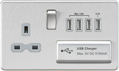 Screwless 13A 1G Switched Socket with Quad USB Charger 5V DC 5.1A - Brushed Chrome with Grey Insert (DFL1SFR7USB4BCG)