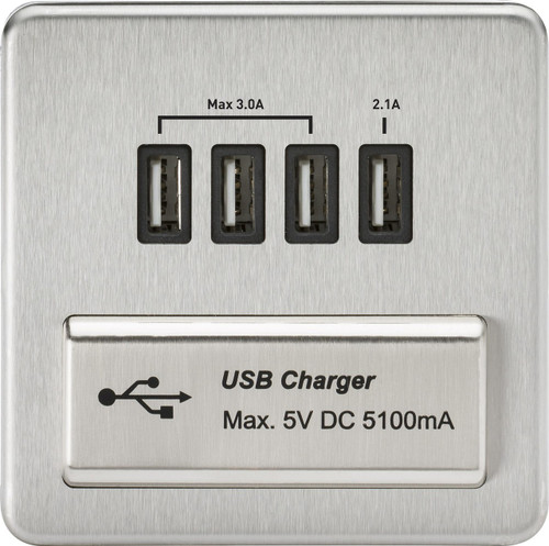 Screwless 1G Quad USB Charger Outlet 5V DC 5.1A - Brushed Chrome with Black Insert (DFL1SFQUADBC)