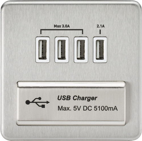 Screwless 1G Quad USB Charger Outlet 5V DC 5.1A - Brushed Chrome with White Insert (DFL1SFQUADBCW)