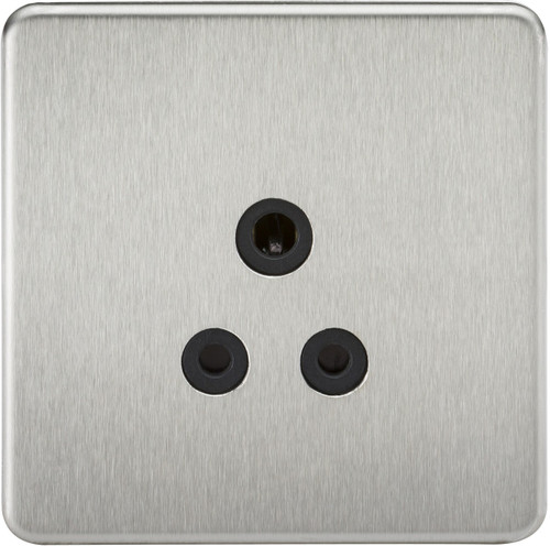 Screwless 5A Unswitched Socket - Brushed Chrome with Black Insert (DFL1SF5ABC)