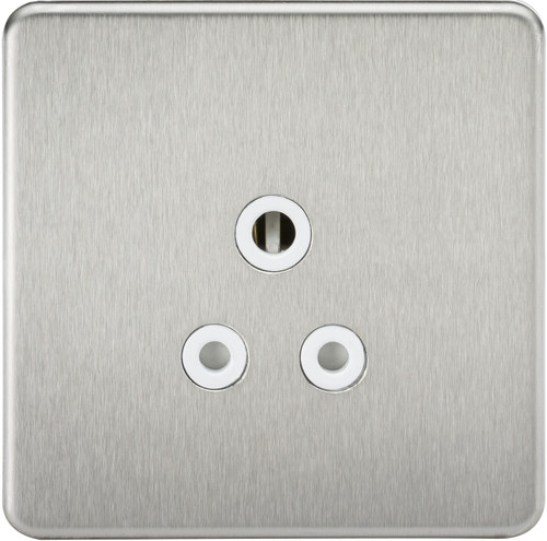 Screwless 5A Unswitched Socket - Brushed Chrome with White Insert (DFL1SF5ABCW)