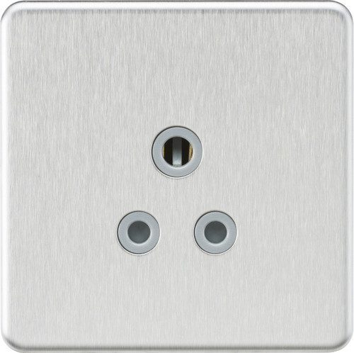 Screwless 5A Unswitched Socket - Brushed Chrome with Grey Insert (DFL1SF5ABCG)