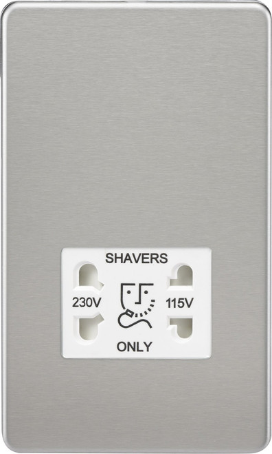 Screwless 115V/230V Dual Voltage Shaver Socket - Brushed Chrome with White Insert (DFL1SF8900BCW)