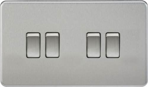 Screwless 10A 4G 2-Way Switch - Brushed Chrome (DFL1SF4100BC)