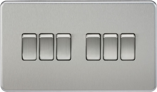 Screwless 10A 6G 2-Way Switch - Brushed Chrome (DFL1SF4200BC)