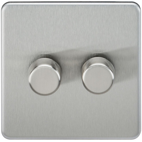 Screwless 2G 2-Way 10-200W (5-150W LED) Dimmer Switch - Brushed Chrome (DFL1SF2182BC)