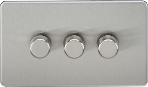 Screwless 3G 2-Way 10-200W (5-150W LED) Dimmer Switch - Brushed Chrome (DFL1SF2183BC)