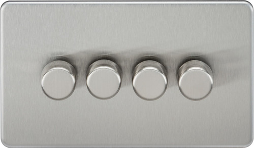 Screwless 4G 2-Way 10-200W (5-150W LED) Dimmer Switch - Brushed Chrome (DFL1SF2184BC)