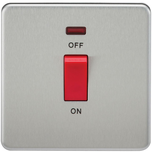 Screwless 45A 1G DP Switch with Neon - Brushed Chrome (DFL1SF8331NBC)