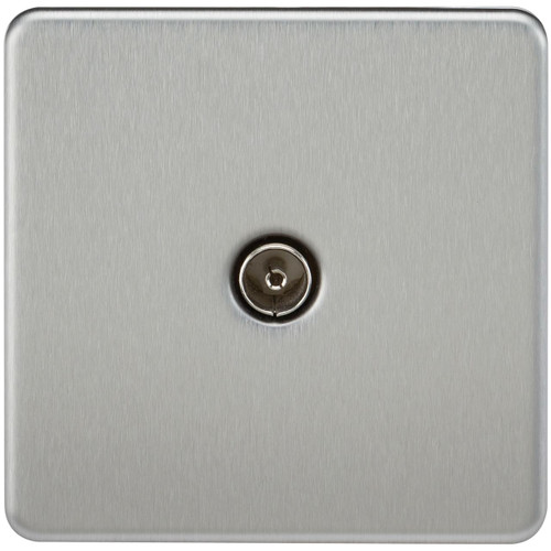 Screwless 1G TV Outlet (Non-Isolated) - Brushed Chrome (DFL1SF0100BC)