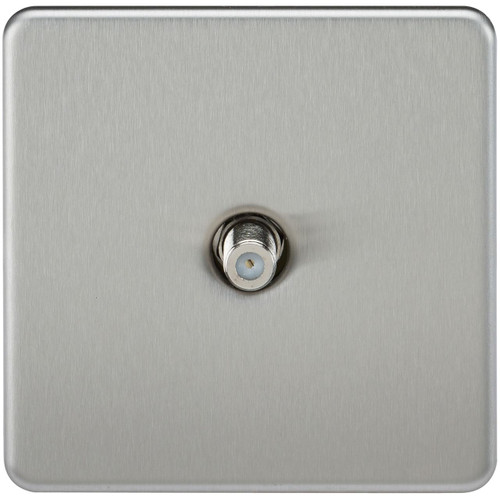 Screwless 1G SAT TV Outlet (Non-Isolated) - Brushed Chrome (DFL1SF0150BC)