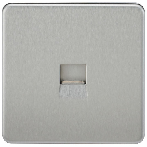 Screwless Telephone Master Socket - Brushed Chrome (DFL1SF7300BC)